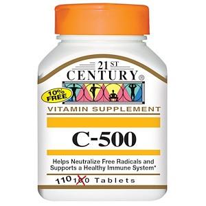 Витамин С 500мг, 110 таблеток, 21st Century