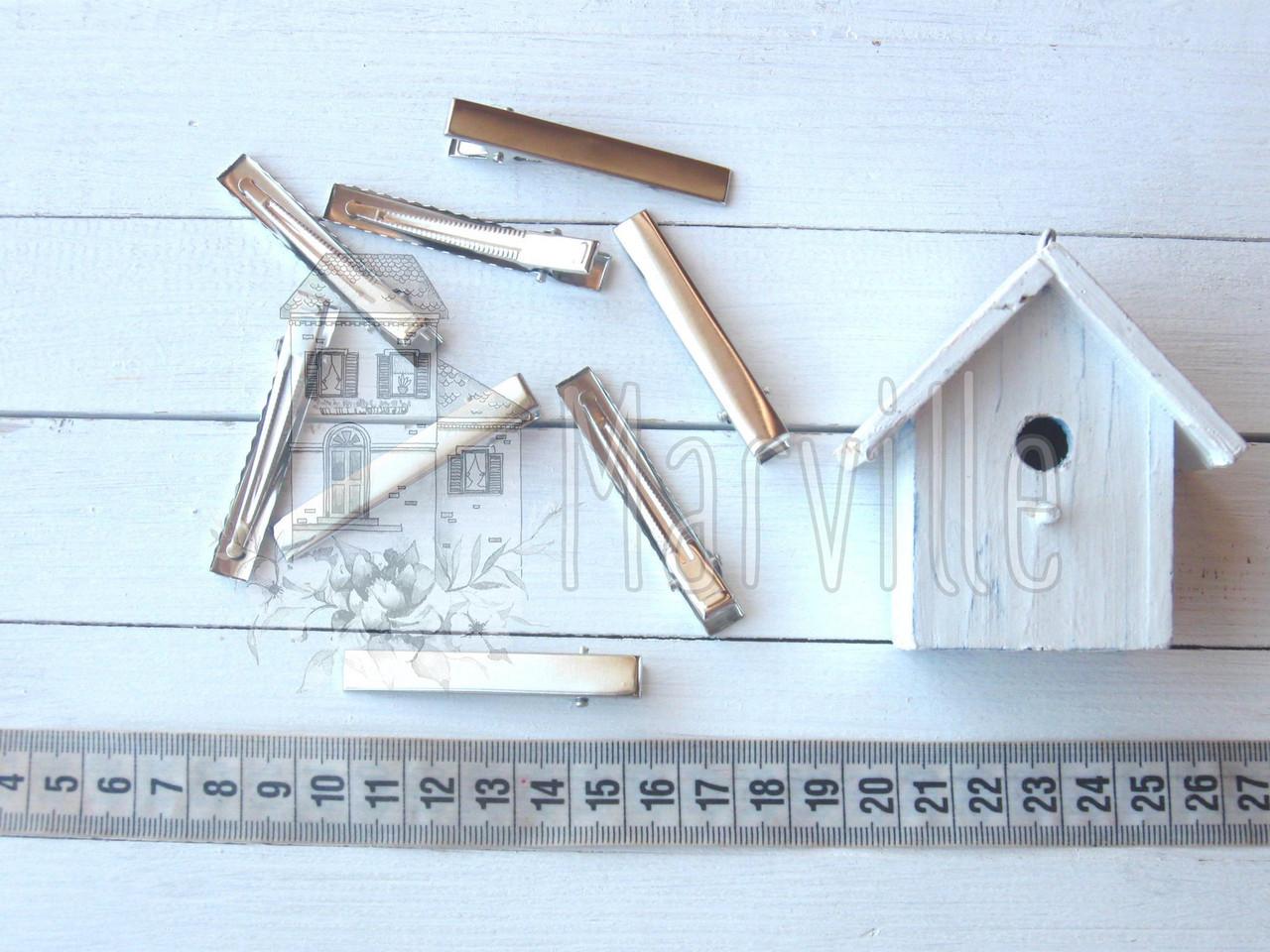 Заготовка для заколки прямая 56 мм серебряная