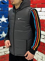Мужская жилетка Nike серого цвета  (люкс копия)