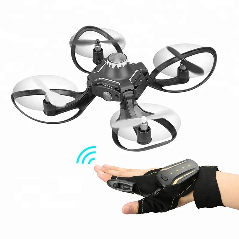 Складной квадрокоптер VOLCANO W606-16 дрон с управлением положения руки Черный (SUN2058)