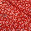 Ткань с густыми снежинками на красном фоне, ширина 160 см