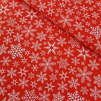Ткань с густыми снежинками на красном фоне, ширина 160 см, фото 1