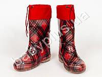 """Сапоги резин., 31 размер, с силик. покр. утепленные """"Шотландка мини красная"""" Alisa Line"""