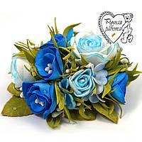 Шпилька сині троянди з фоамирана ручної роботи для волосся