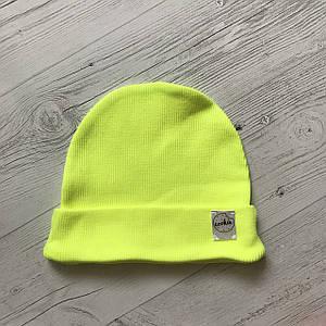 Дитяча шапка одношарова Лимонний неон 38-44