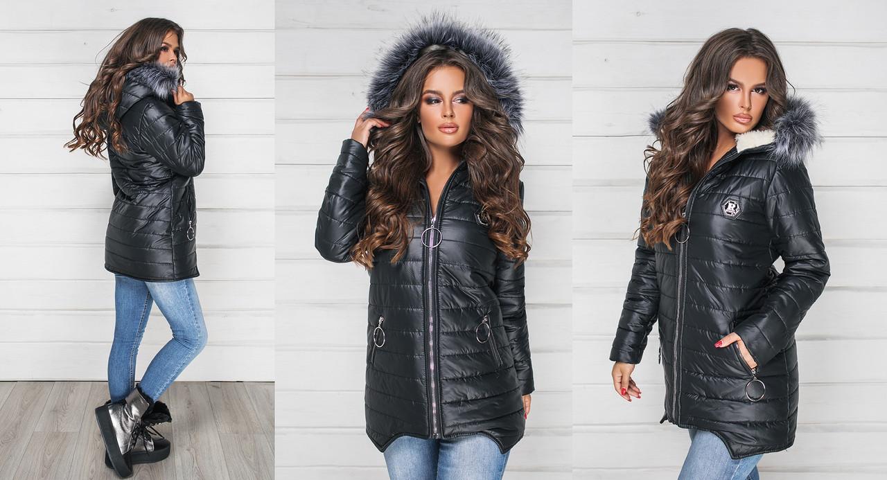 Женская куртка зимняя удлиненная Плащевка на синтепоне Подклад Овчина Размер 42 44 46 В наличии 4 цвета
