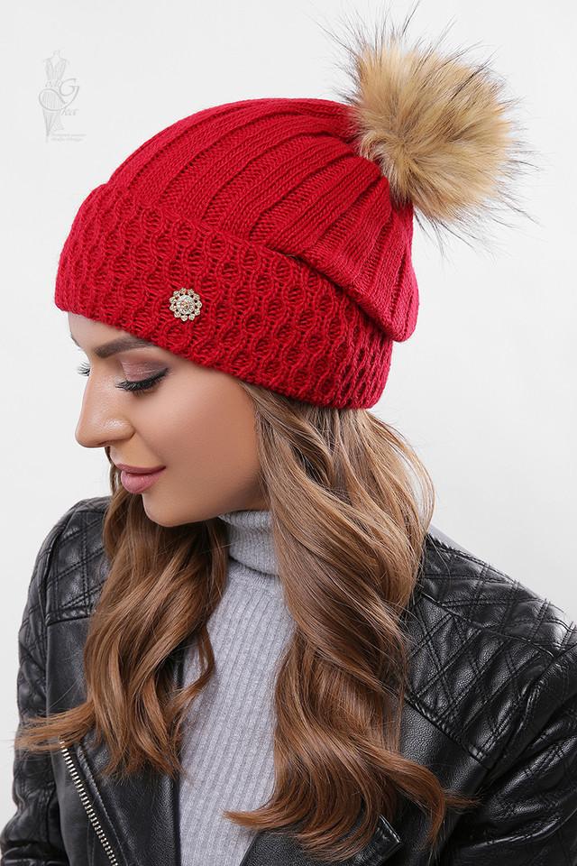 Цвет красный Вязаных женских шапок Лин