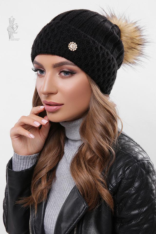 Цвет черный Вязаных женских шапок Лин