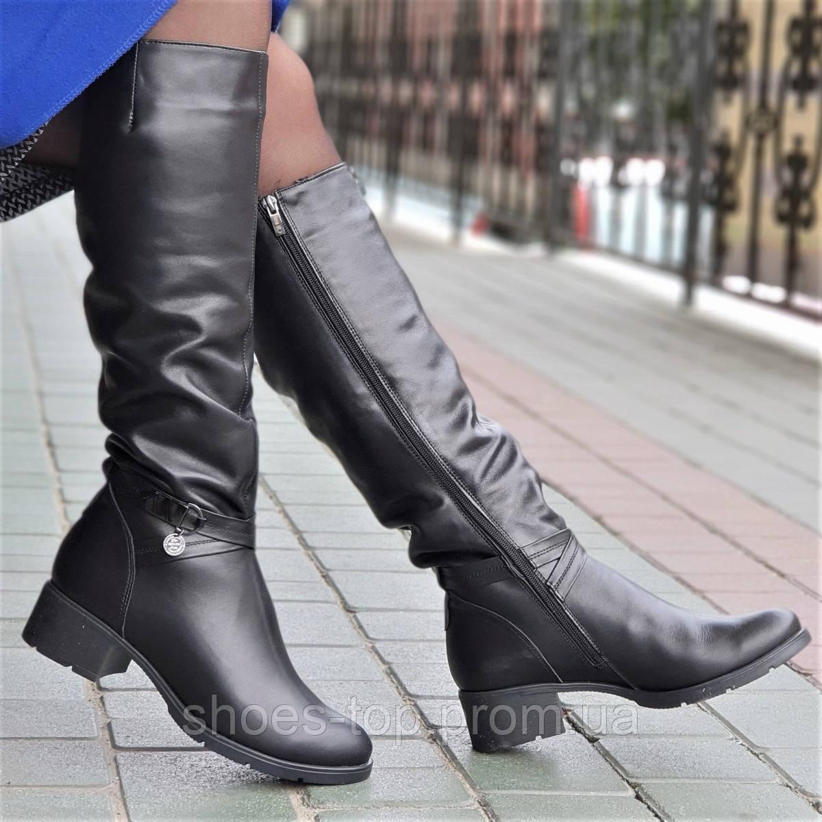 Женские зимние сапоги элегантные натуральная кожа черные полушерсть удобные  (Код  Ш1245) - Shoes 5cd6add3d1b26
