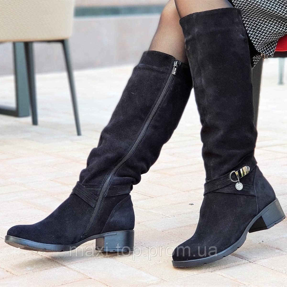 585a684d0 Женские зимние сапоги элегантные натуральная замша черные полушерсть  удобные стильные (Код: М1248) -