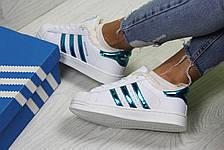 Кроссовки зимние,Adidas Superstar белые с зеленым,на меху, фото 2