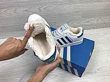 Кроссовки зимние,Adidas Superstar белые с зеленым,на меху, фото 3