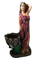 Статуэтка с кашпо Светлана в бордовом платье 70 см