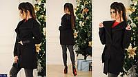 Пальто женское (42-46) мод. 2130; женское пальто-тренч; ткань : кашемир; цвет: чёрный , красный
