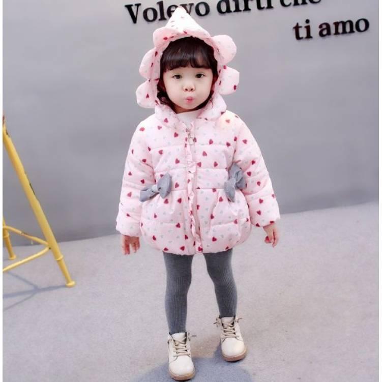 Куртка детская демисезонная  на девочку розовая  осень-весна сердечко