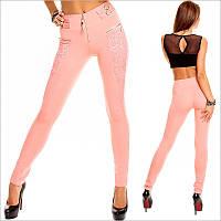 Женские штаны нежно-розового цвета c высокой талией