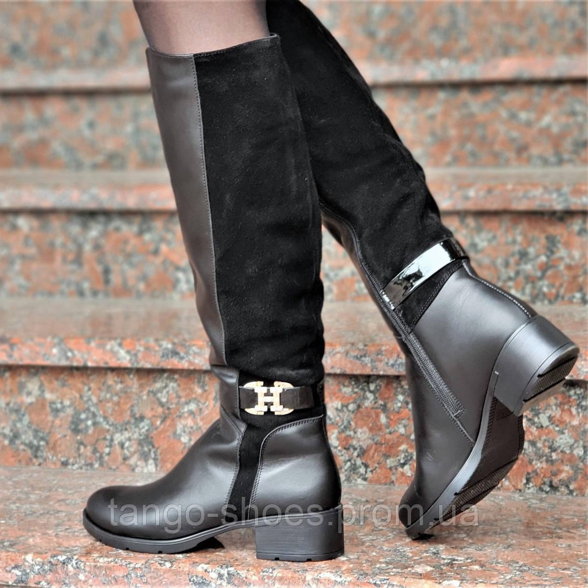 0b9a35ec0 Женские зимние сапоги элегантные натуральная кожа, замша черные мех удобные  (Код: Т1246а)
