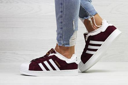 Кроссовки зимние,Adidas Superstar,бордовые,на меху, фото 2