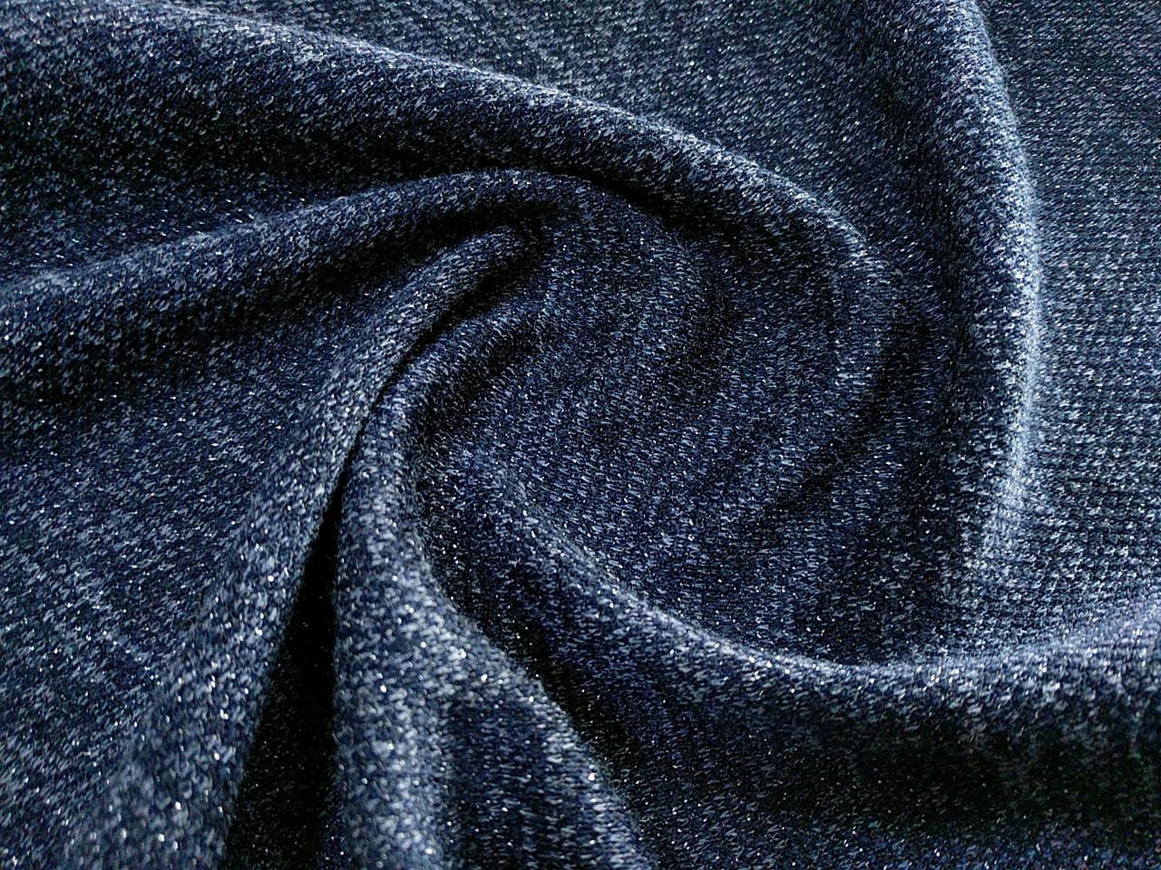Трикотаж меланжевый искорка, темно-синий