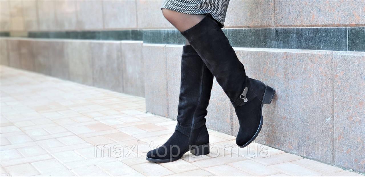 Женские зимние сапоги элегантные натуральная замша черные полушерсть  удобные стильные (Код  М1248а) a6c9375bfe779