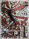 Шерстяной палантин, белый с красным, фото 5