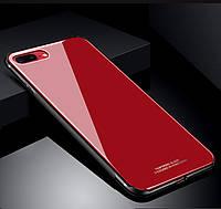Чехол-накладка Silicone Glass iPhone 7 Plus красный