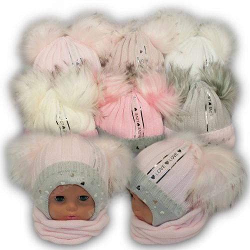 Шапка c двумя помпонами и шарф хомут для девочки, р. 44-46
