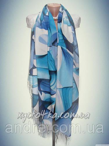 Турецкий кашемировый палантин Геометрия, синий