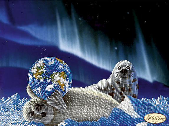 Схема для вышивки бисером Морские котики. Спасем планету, фото 2