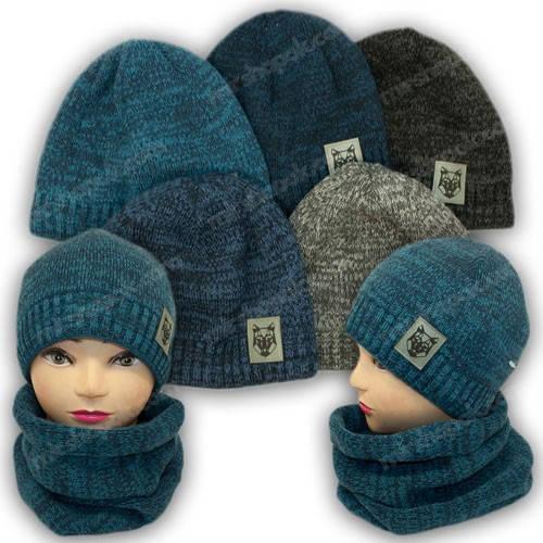 Комплект для мальчика - шапка шарф хомут, р. 52-54