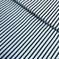 Ткань в черную полоску на белом фоне, ширина 160 см, фото 1
