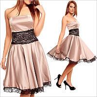 Выпускное платье бежевого цвета