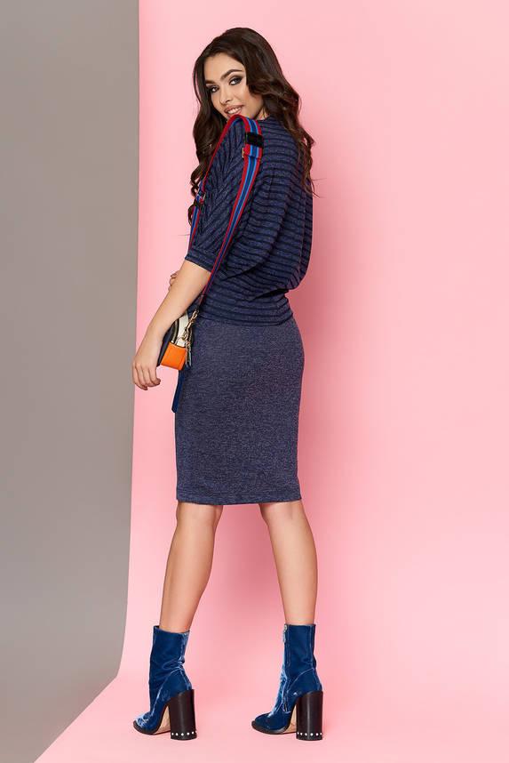 Модный юбочный женский костюм из ангоры синий, фото 2