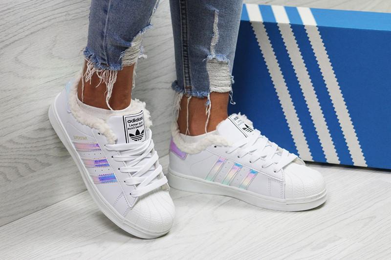 8073bcfc Кроссовки адидас суперстар женские зимние кожаные белые с мехом (реплика) Adidas  Superstar White Silver Purple
