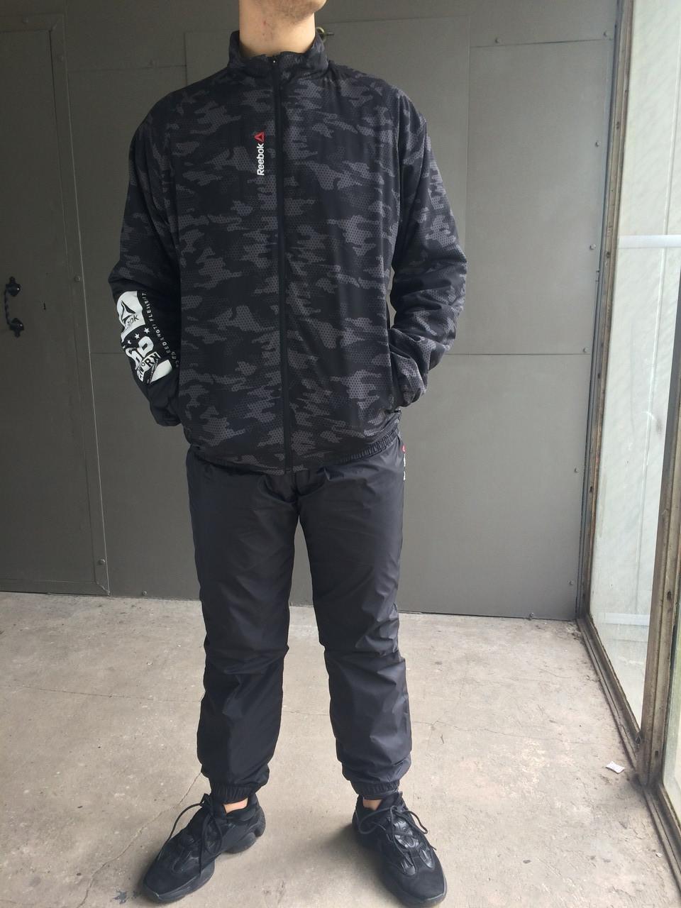 Мужской зимний спортивный костюм Reebok Crossfit.Черный с серым