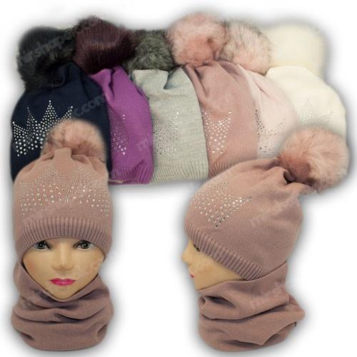 ОПТ Шапка c помпоном и шарф хомут для девочки, р. 50-52 (5шт/набор)
