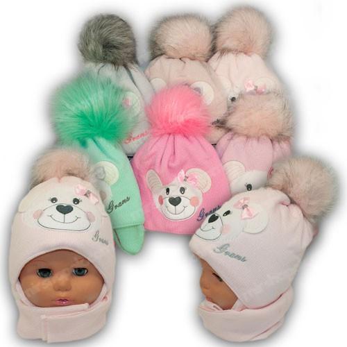 ОПТ Детский комплект - шапка и шарф для девочки, р. 42-44 (5шт/набор)