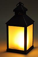 Фонарь со свечой ЛЕД+таймер  23см (пластик) черный, фото 1