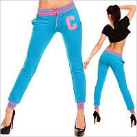 Яркие голубые женские спортивные штаны