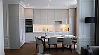 Кухня крашеными МДФ фасадами, столешницей и мойкой из акрилового камня, с крашеными релинговыми ручками, фото 1