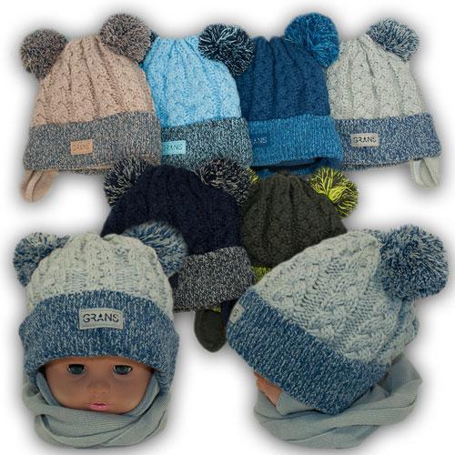 ОПТ Детский комплект - шапка и шарф для мальчика, р. 48-50 (5шт/набор)