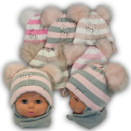 Детский комплект - шапка и шарф для девочки, р. 40-42