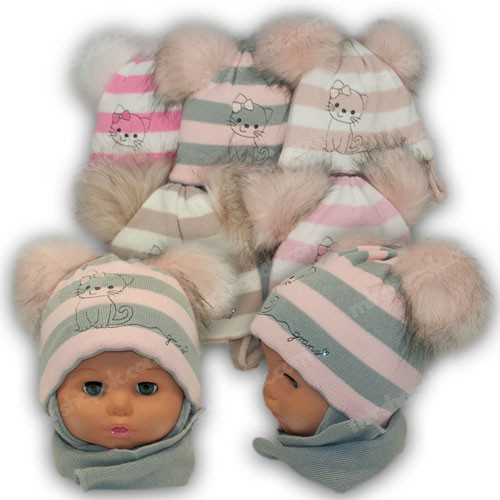 ОПТ Дитячий комплект - шапка і шарф для дівчинки, р. 40-42 (5шт/набір)