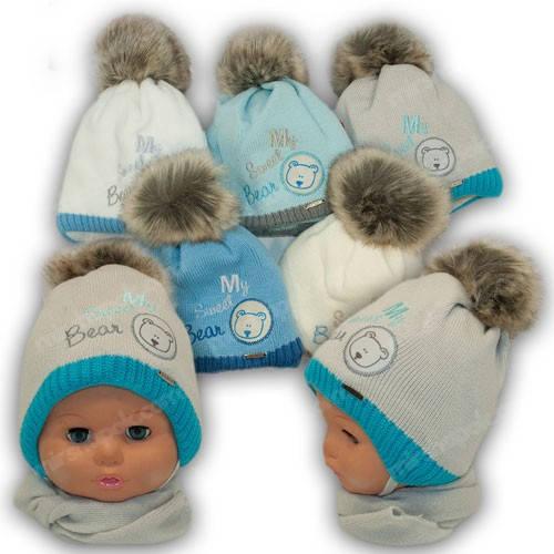 Детский комплект - шапка и шарф для мальчика, р. 40-42