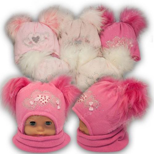 ОПТ Шапка з двома помпонами і шарф хомут для дівчинки, р. 48-50 (5шт/набір)