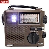FM/AM/SW радиоприемник GR88-T, ручной динамо-генератор, фонарь, три источника питания, разъем для наушников (3,5 мм)