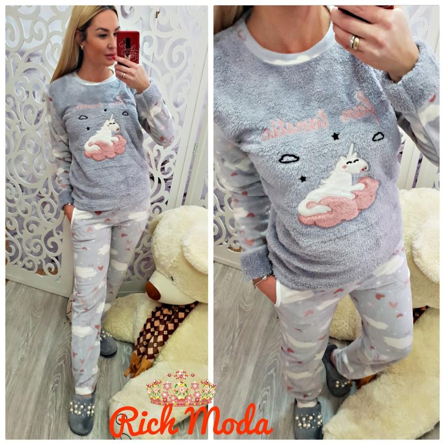 8cb5ccf66cd94 Теплая женская пижама флис и махра - Интернет-магазин