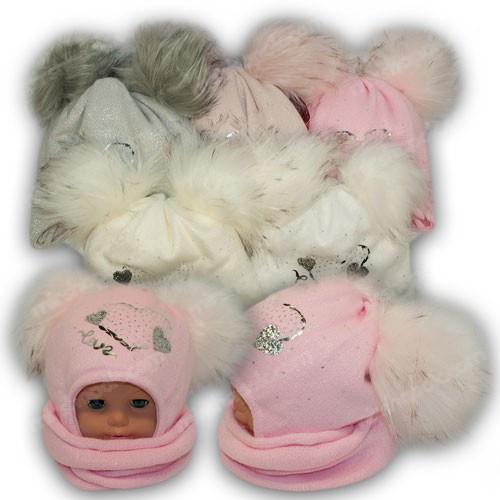 ОПТ Шапка c двумя помпонами и шарф хомут для девочки, р. 48-50 (5шт/набор)
