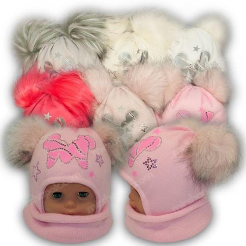 ОПТ Шапка c двумя помпонами и шарф хомут для девочки, р. 46-48 (5шт/набор)