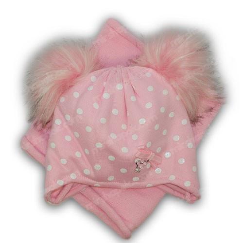 детские шапки с двумя помпонами